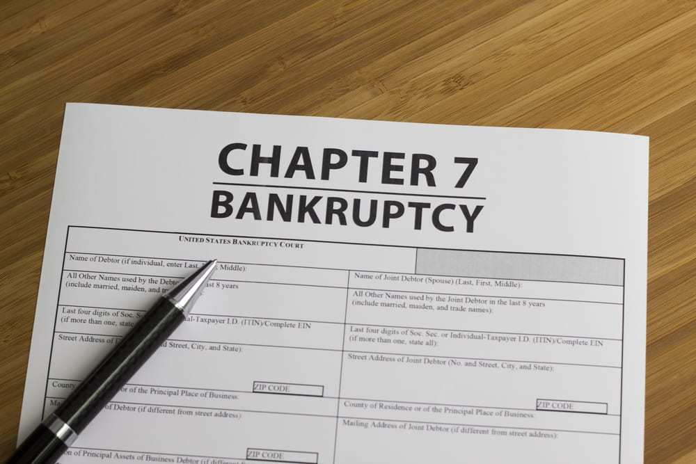 Document for filing bankruptcy Chapter 7