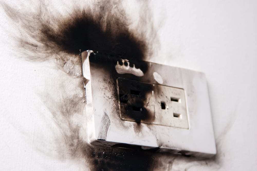 Aftermath of electrical failure of power outlet