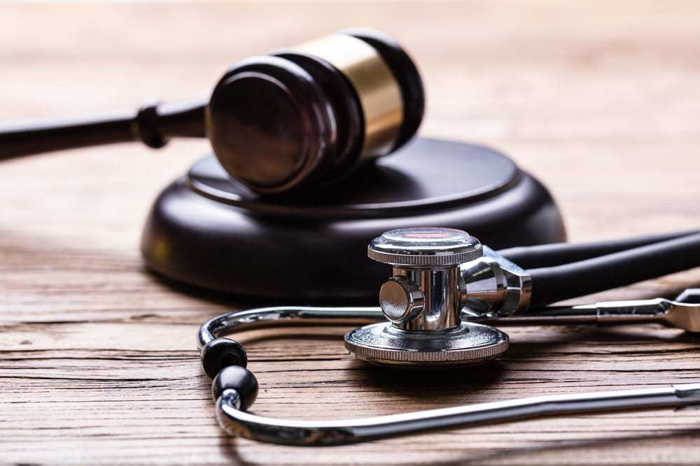 stethoscope and gavel, medical malpractice concept