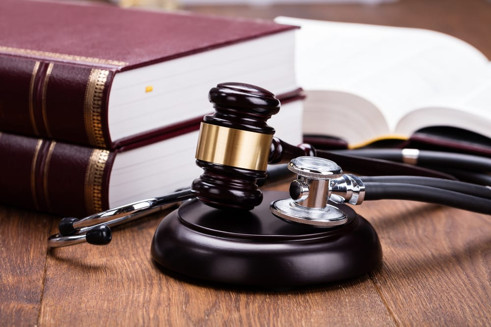 Gavel, Stethoscope, and Law Books